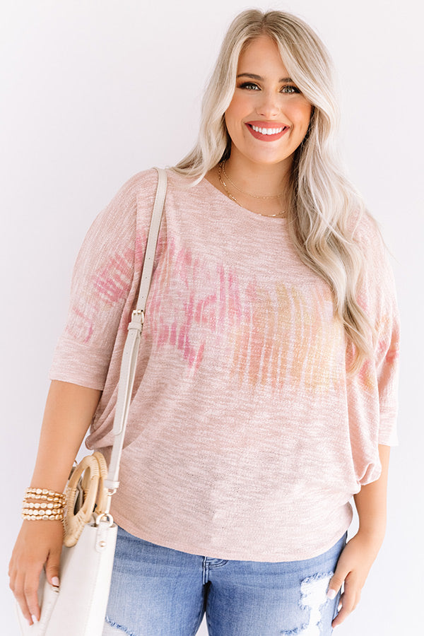 Pineapples In Paradise Knit Top In Blush