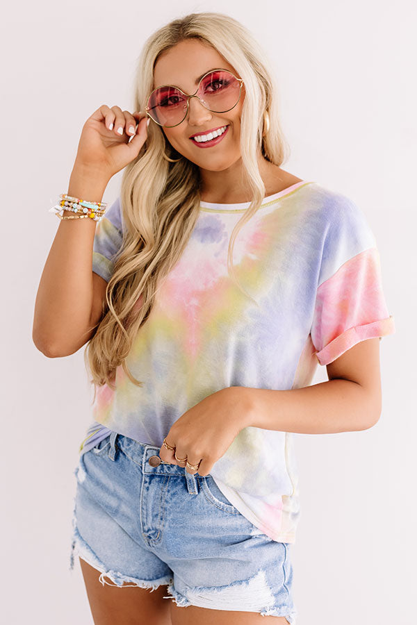 Ocean Sunset Tie Dye Tee In Pink