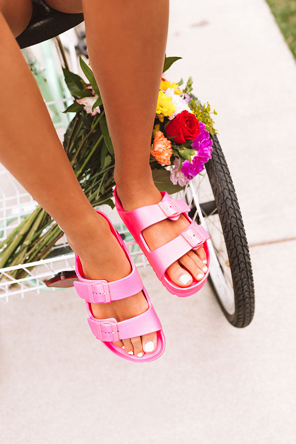 The Sunny Sandal in Neon Pink