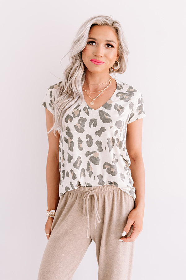 Top Spot Leopard Tee In Beige