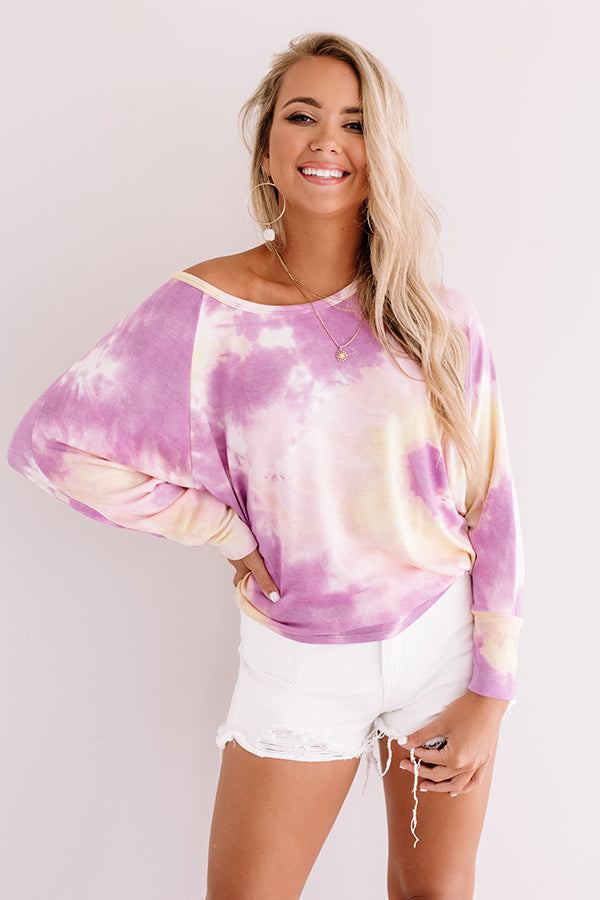 Tupelo Honey Tie Dye Shift Top In Orchid