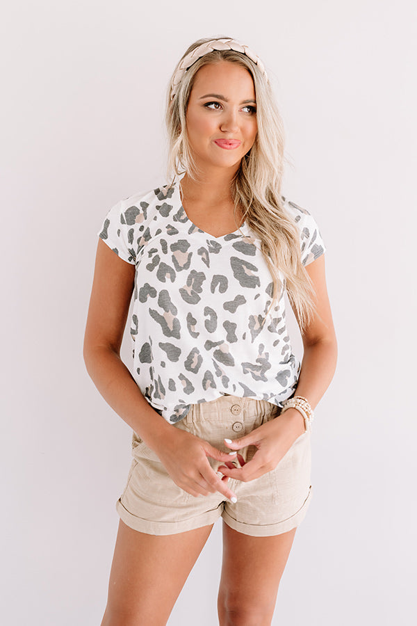 Top Spot Leopard Tee In White