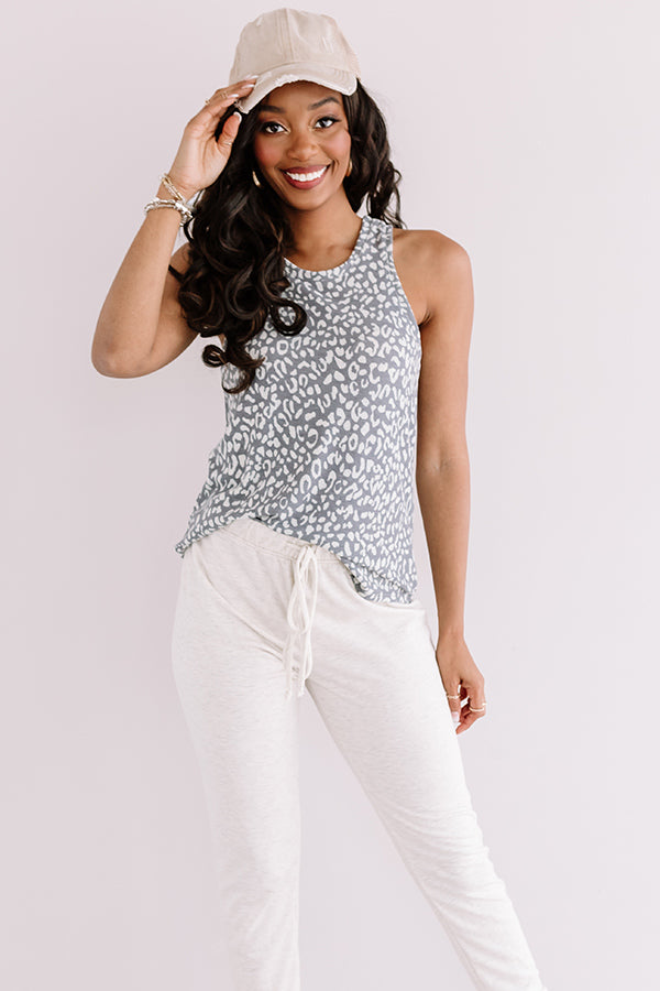 Call Of The Styled Leopard Tank In Charcoal