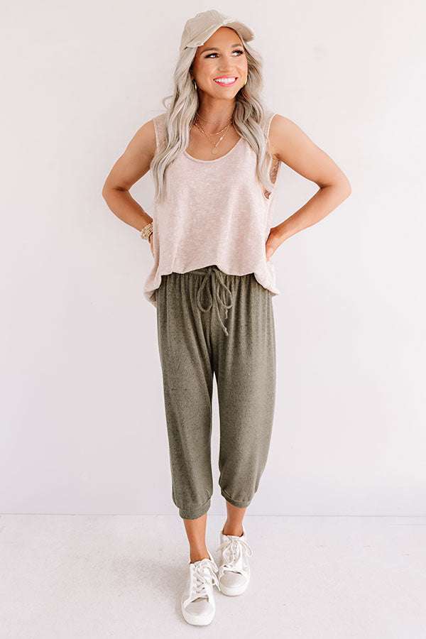 Casa Casual Joggers In Olive