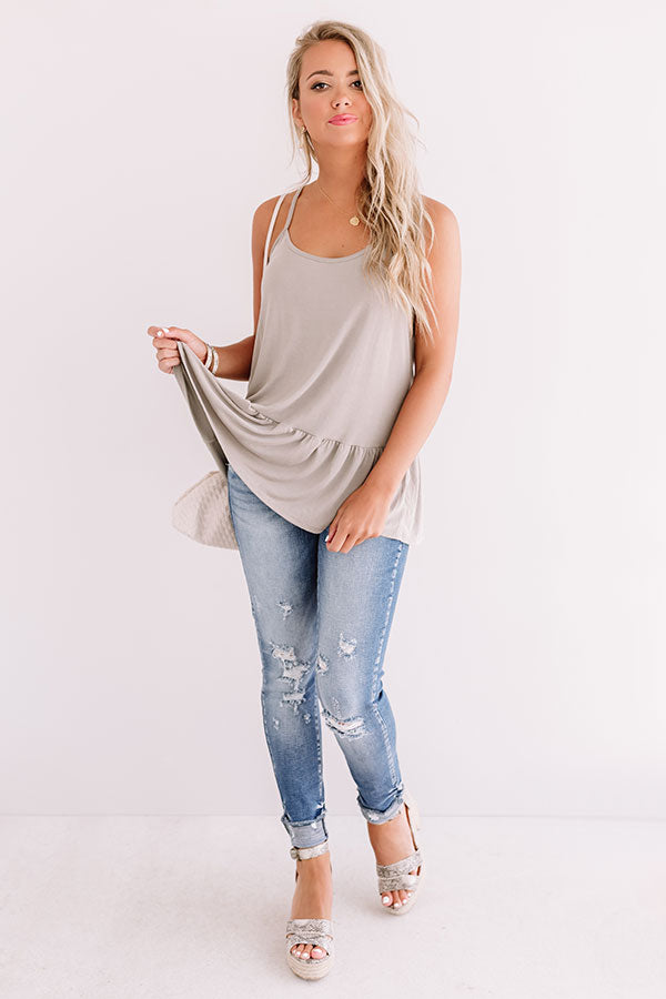 La Vida Vacay Shift Tank In Taupe