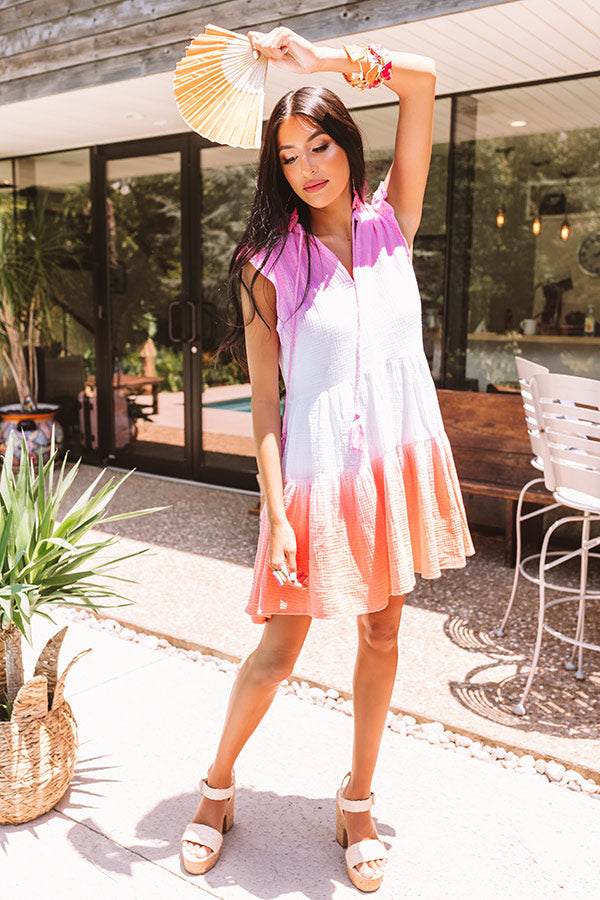 Twirling At Sunset Ombre Shift Dress In Pink