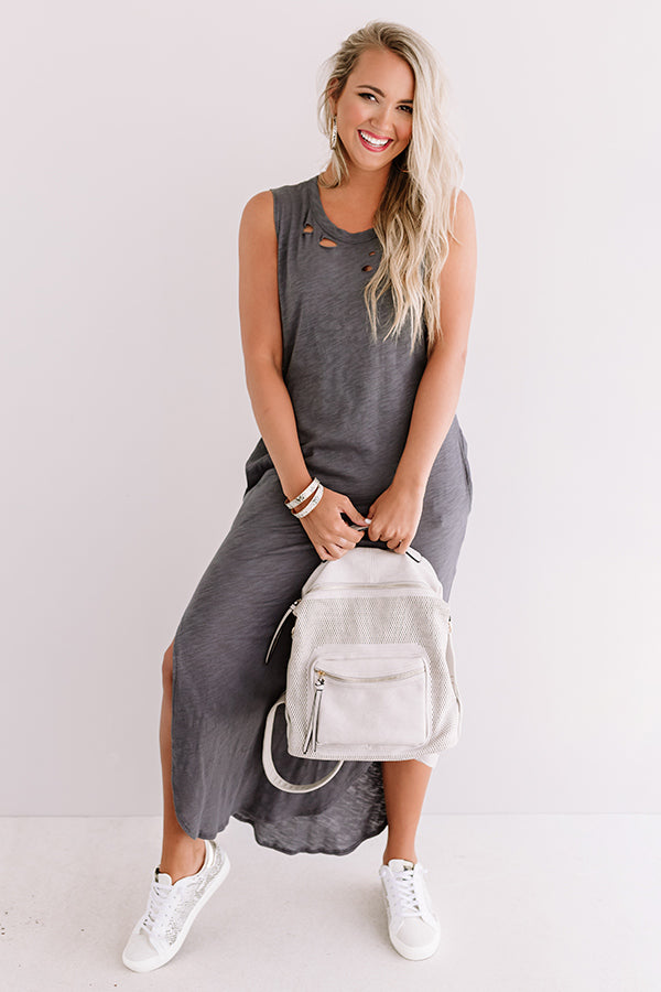 Weekday Chic Distressed Maxi In Charcoal