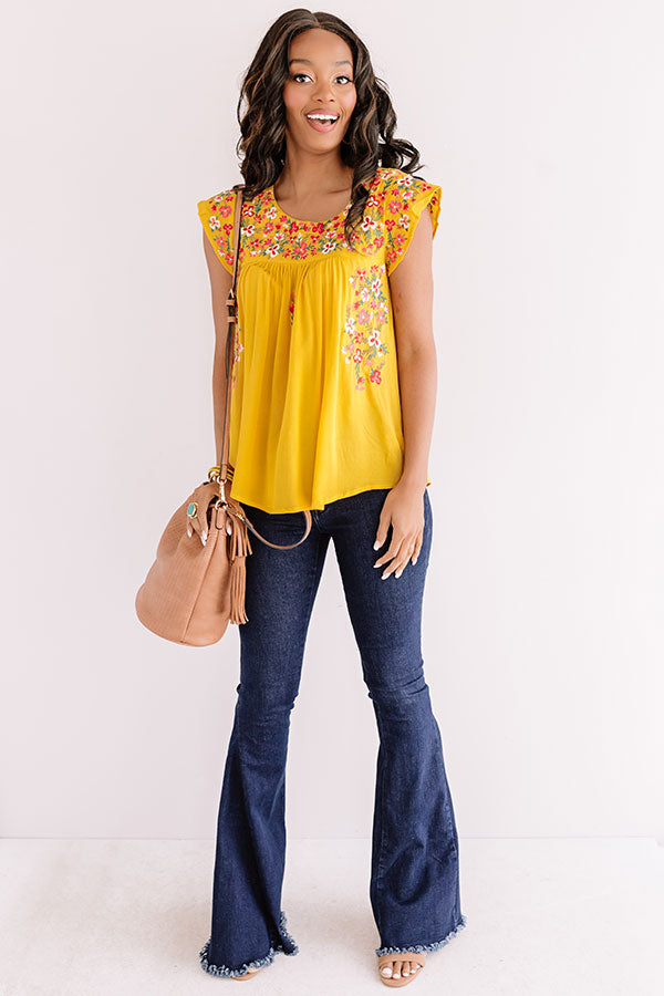 Resort To This Embroidered Shift Top In Marigold