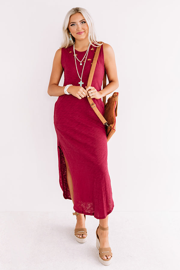 Weekday Chic Distressed Maxi In Wine