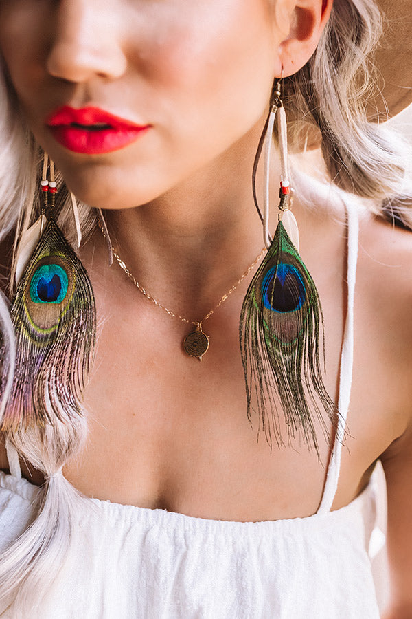 Style Essence Feather Earrings in Brown