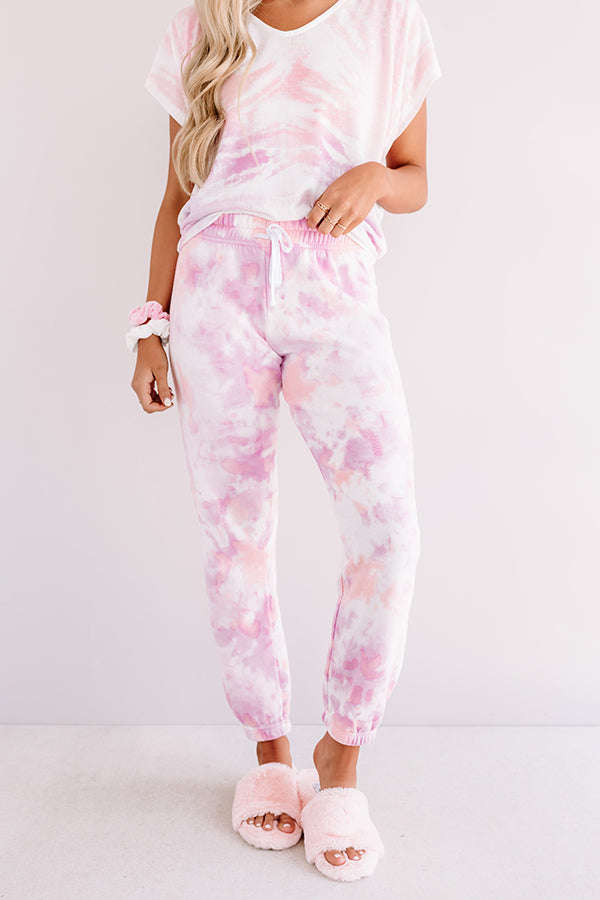 Chill Out Tie Dye Joggers In Pink