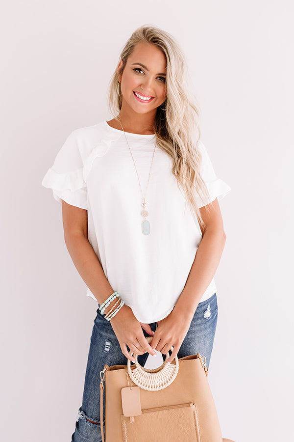 First Class Flight Path Shift Top In White