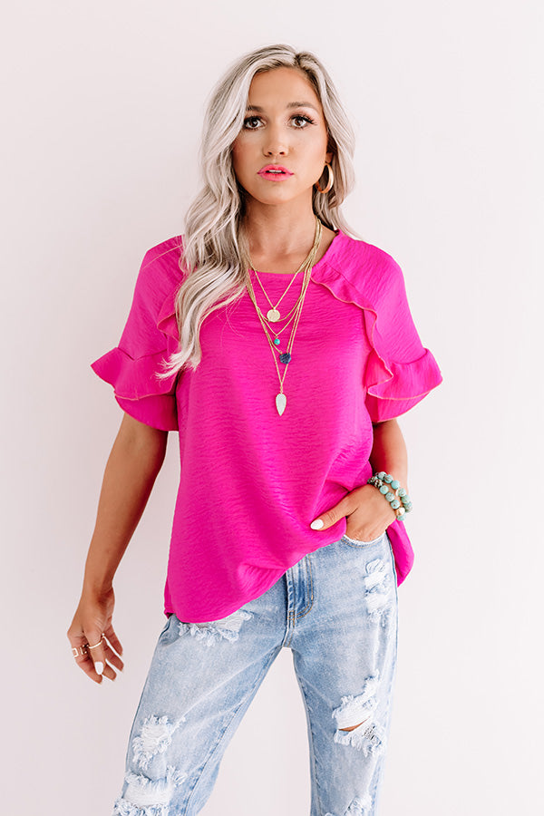 First Class Flight Path Shift Top In Hot Pink