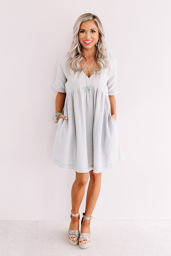 Truly Tempting Babydoll Dress In Airy Blue