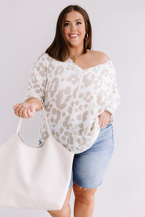 Best Kisses Leopard Knit Top In Warm Taupe