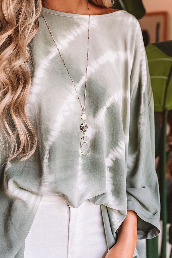 Bryant Park Brunch Semi Precious Necklace In Grey