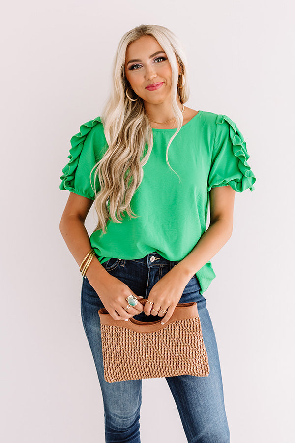 Talkin' About Tulum Shift Top In Kelly Green
