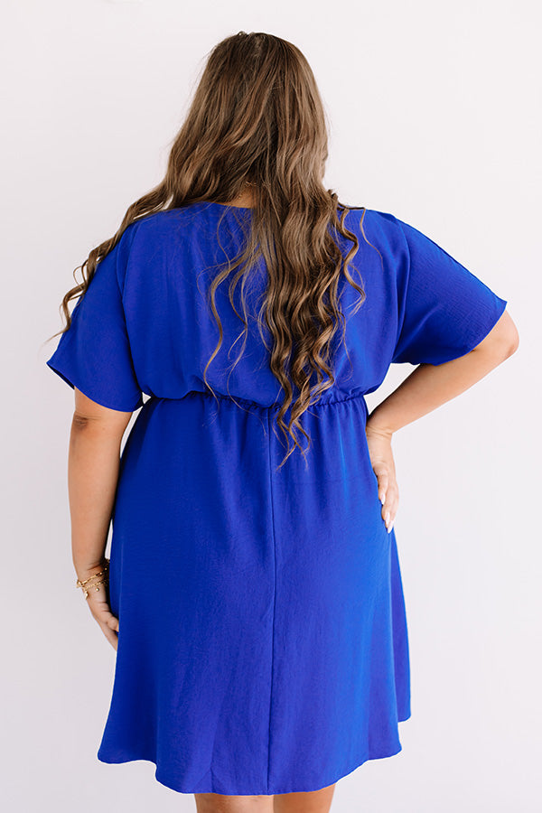 Coasting In Cali Babydoll Dress In Royal Blue