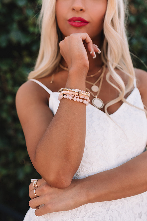Beachy Brilliance Bracelet Set in Rose Quartz
