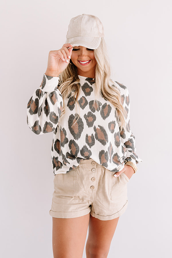 Living In Leopard Shift Top In Cream