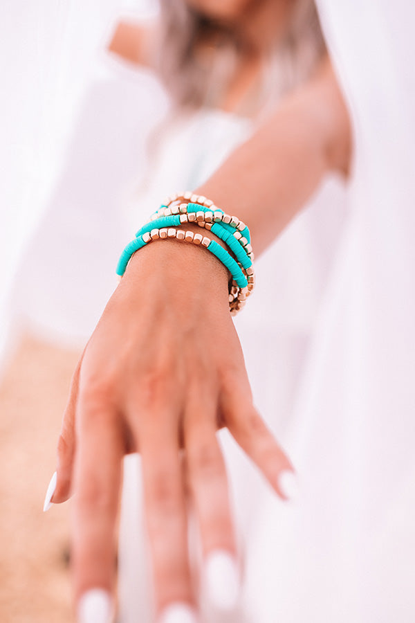 Sweet Friendship Bracelet Set In Turquoise