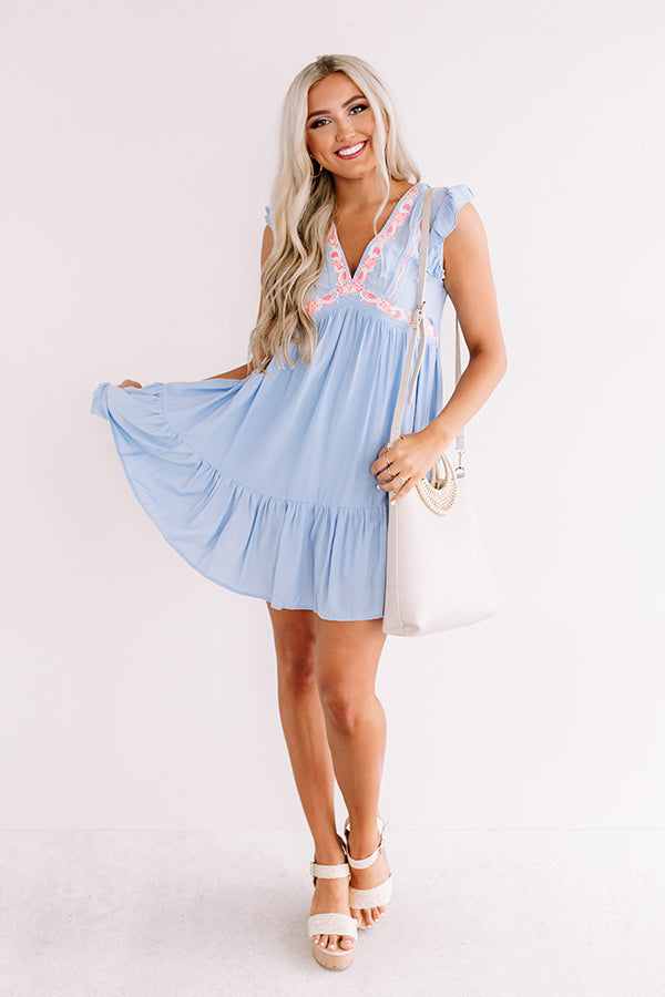 Versailles Brunch Embroidered Dress In Sky Blue