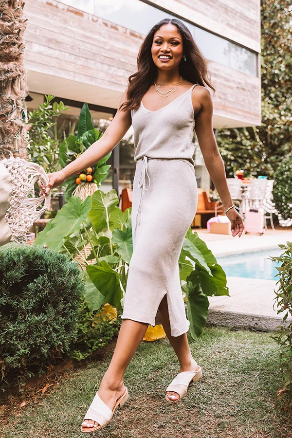 Cool In Cancun Knit Midi In Birch