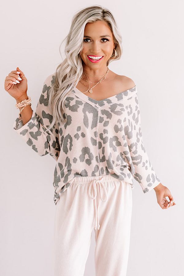 Best Kisses Leopard Knit Top In Light Pink