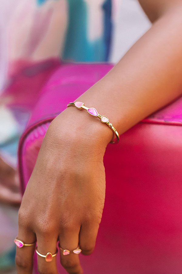 Ivy Gold Cuff Bracelet in Deep Blush Mix