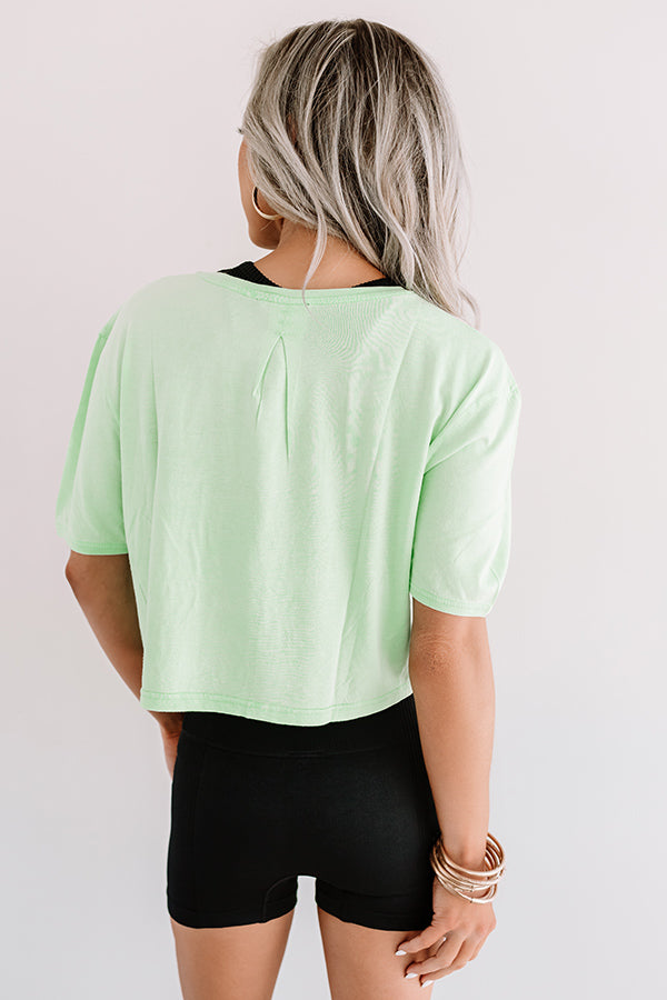 Hikes And Happiness Crop Top In Lime