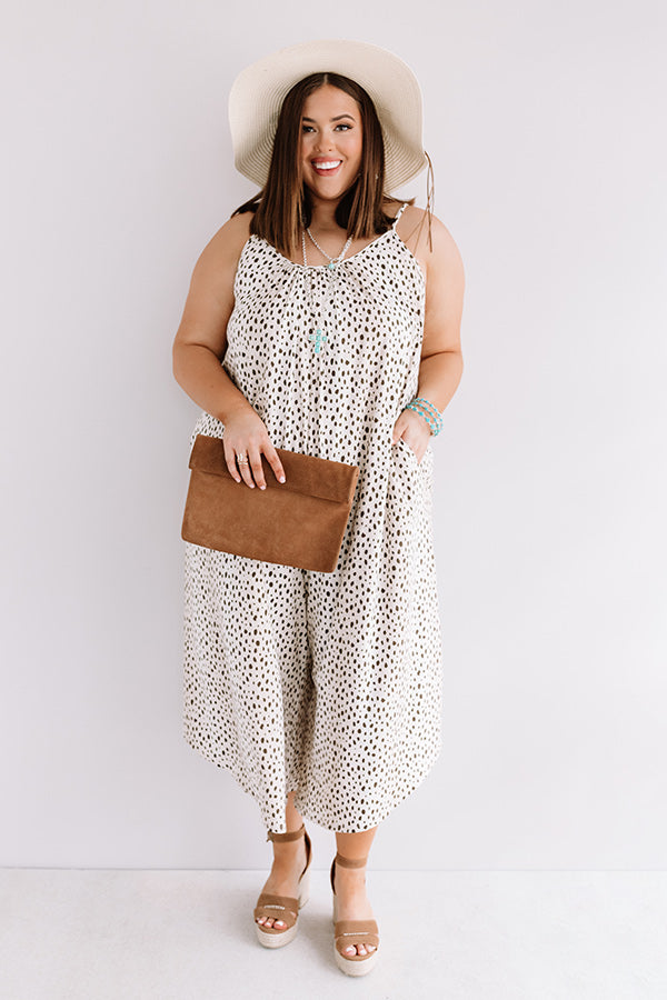 Model Off Duty Leopard Jumpsuit in Brown