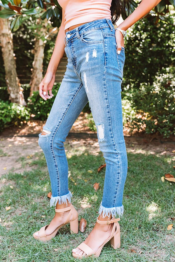 The Stiles Midrise Distressed Ankle Skinny