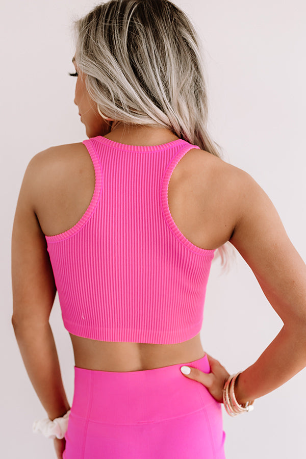 Ready Set Chic Ribbed Crop Top In Pink