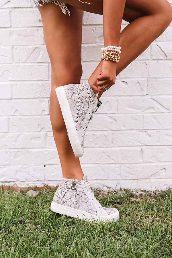 Julie High Top Snake Print Sneaker
