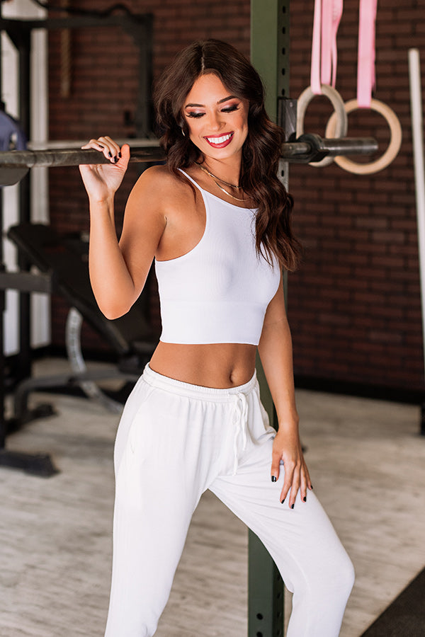 Outgoing And Gorgeous Seamless Crop Top In White