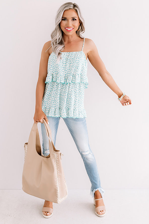 Movie Date Tank in Aqua