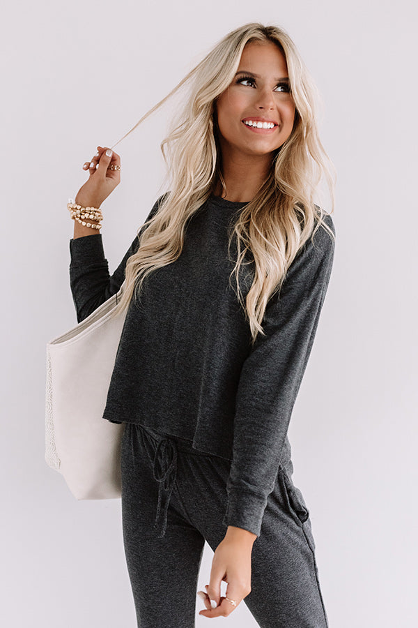 Set To Snuggle Sweatshirt In Charcoal