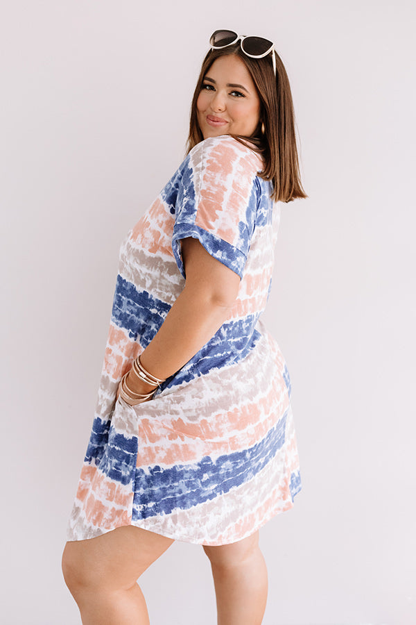 Here And There Tie Dye Dress In Navy