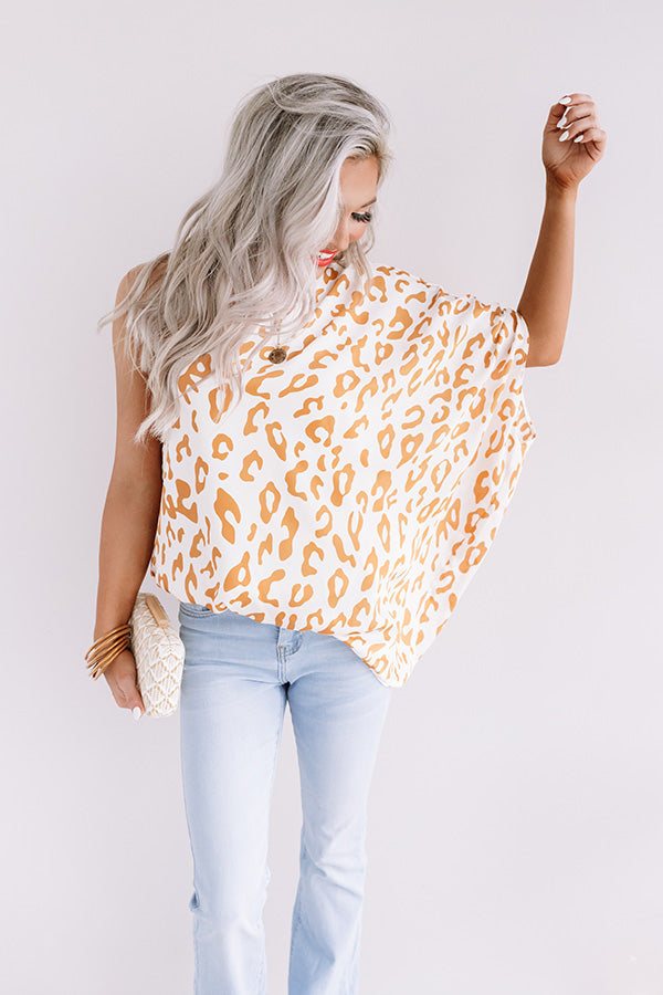 Grand Evening Leopard Top In Marigold