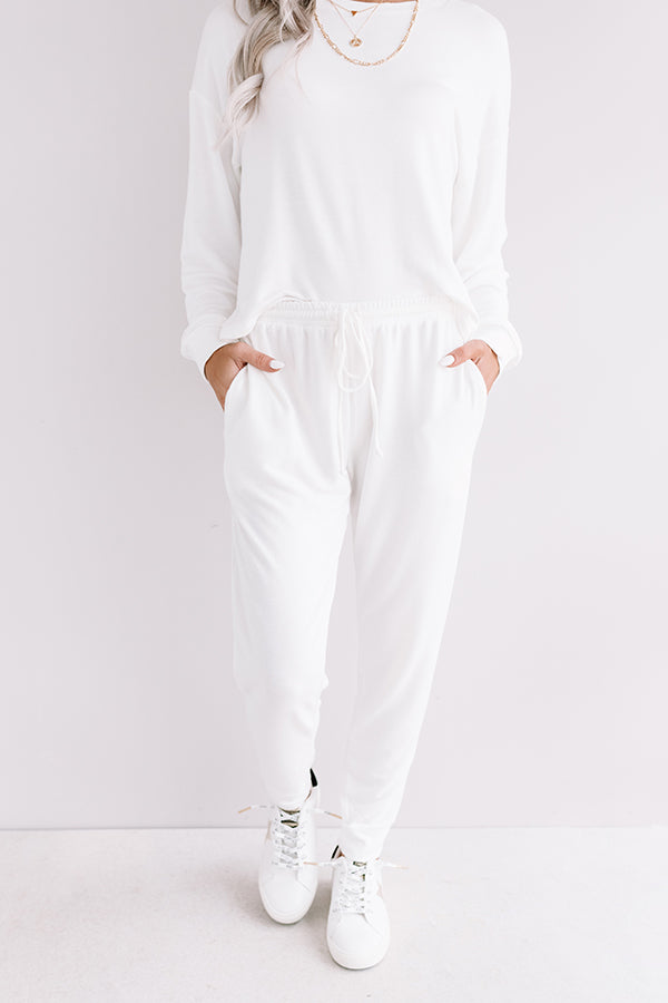 Set To Snuggle Joggers In White
