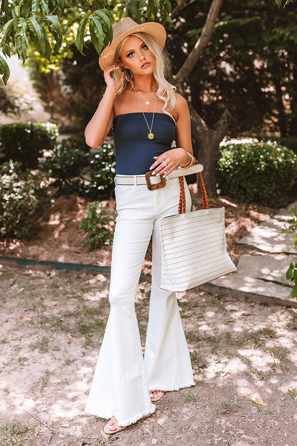 The Rory High Waist Flares In White