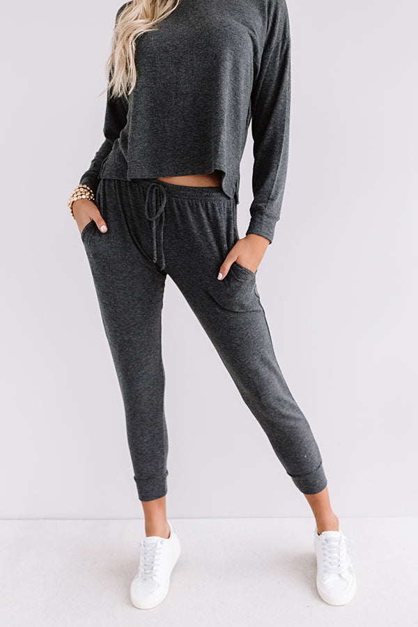 Set To Snuggle Joggers In Charcoal