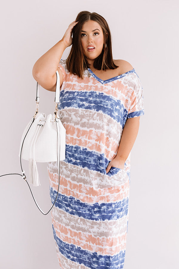Here And There Tie Dye Maxi In Navy