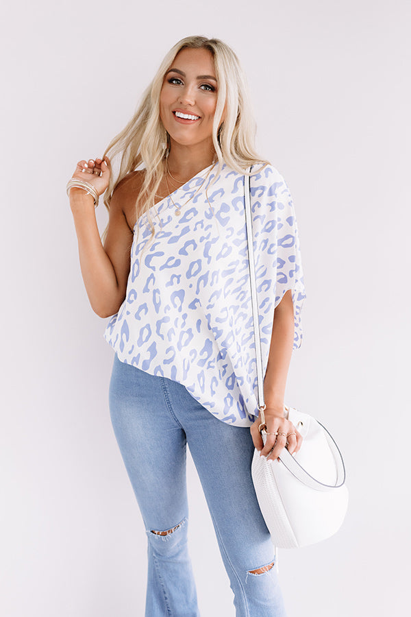 Grand Evening Leopard Top In Periwinkle
