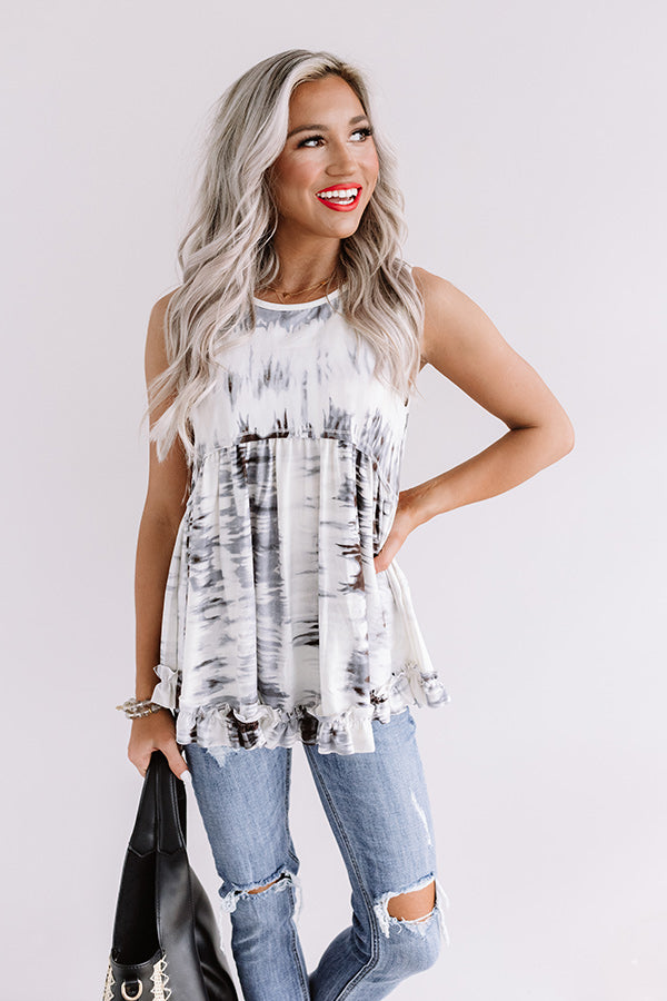 Tampa Twirls Tie Dye Top In Dark Grey