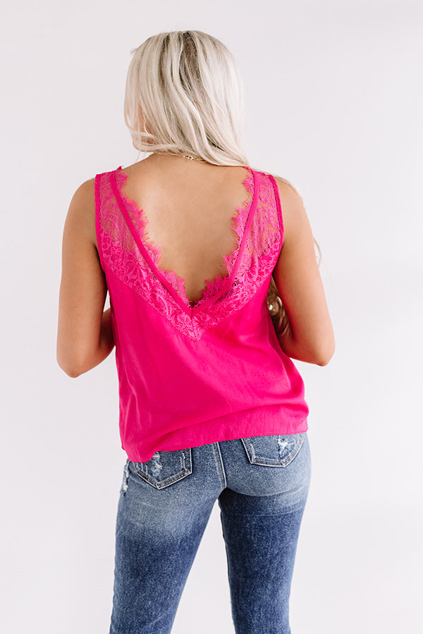 Second Story Lace Top In Hot Pink