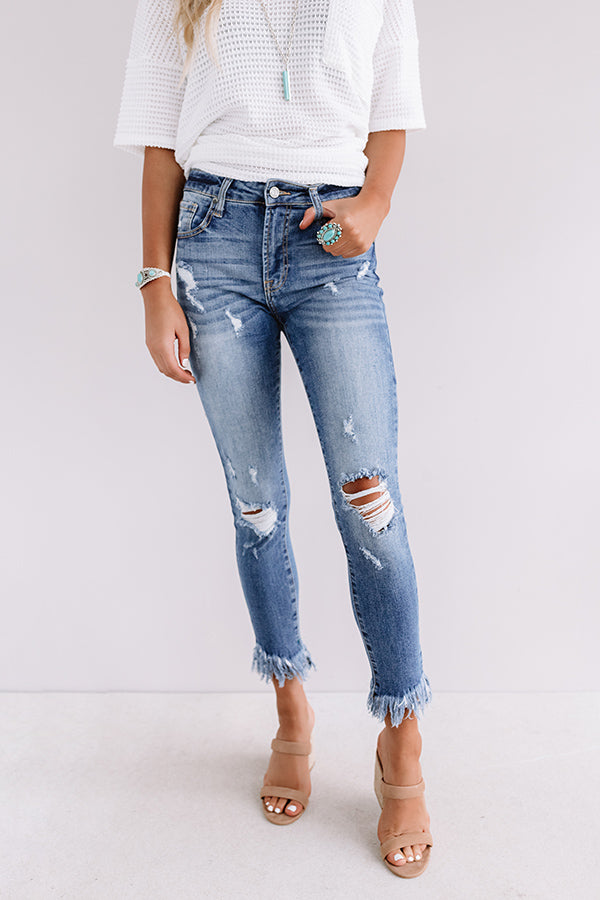 The Montana Midrise Frayed Ankle Skinny In Medium Wash