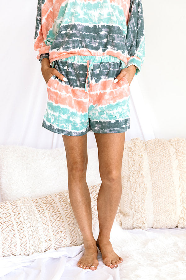 Here And There Tie Dye Shorts In Ocean Wave