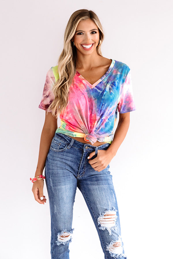 Morning Routine Tie Dye Shift Tee In Pink