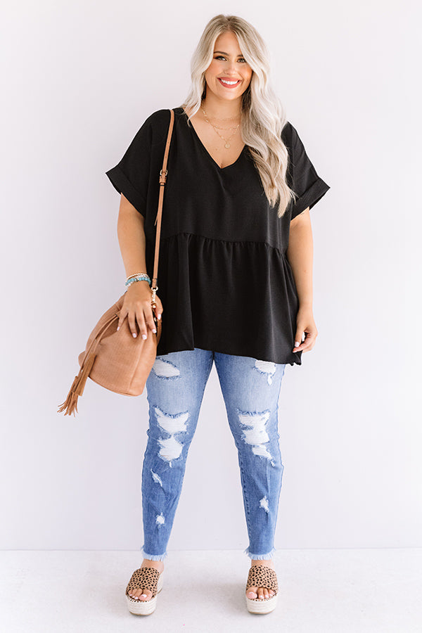 Backseat Sips Babydoll Top in Black